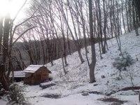 雪の松木小屋