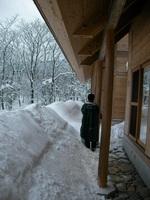 屋根下にたまった雪